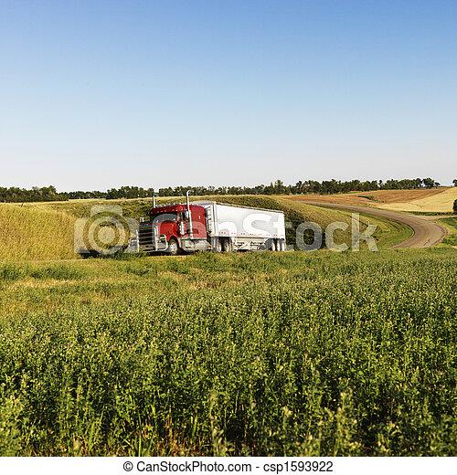 Semi truck on rural road. - csp1593922