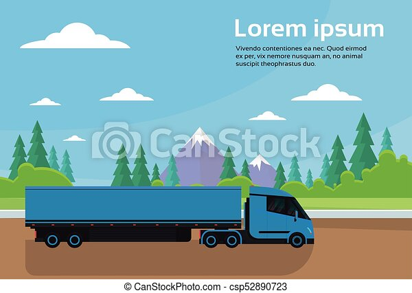 Semi Truck Trailer Driving Road In Countryside Over Mountains Landscape Banner With Copy Space - csp52890723