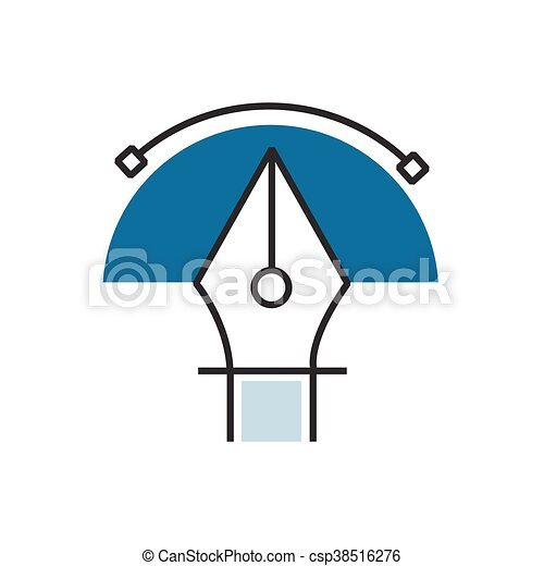 semicircle Blue pen tool icon - csp38516276