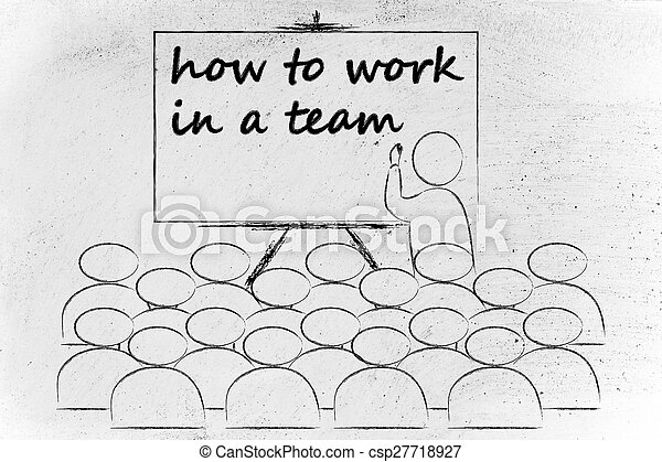 seminar or school class with mentor teaching how to work in a team - csp27718927