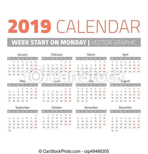 Calendario Settimane Anno 2019.Semplice Calendario 2019 Anno