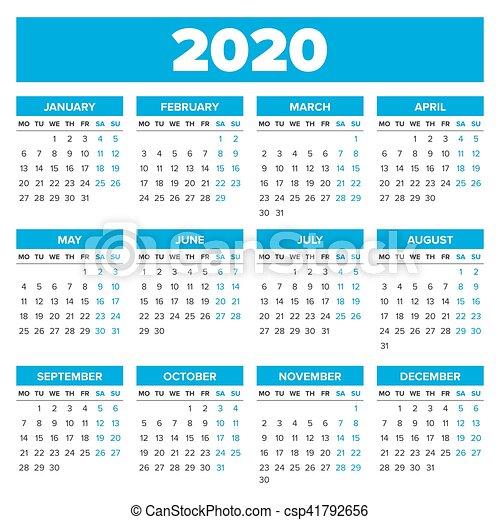 Calendario Anno 2020.Semplice Calendario 2020 Anno