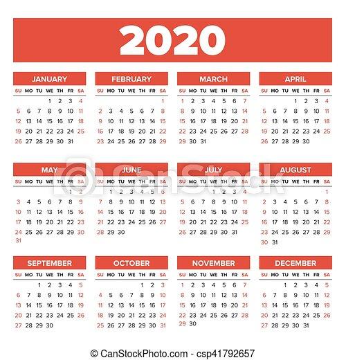 Calendario Annuale 2020.Semplice Calendario 2020 Anno