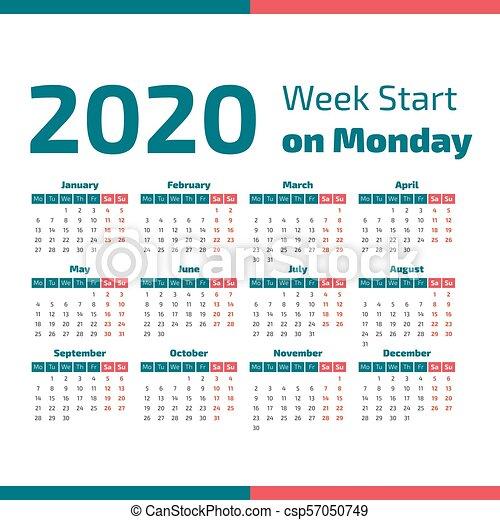 Settimane Calendario 2020.Semplice Calendario 2020 Anno