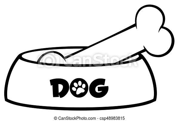 Osso Per Cani Disegno.Semplice Ciotola Cane Nero Disegno Bianco Disegno Osso