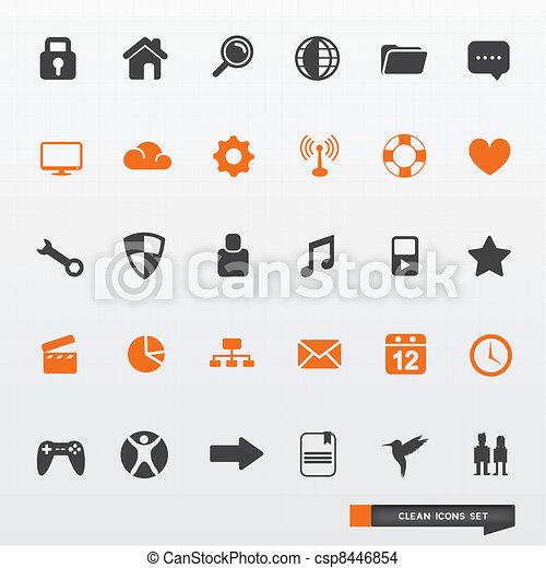 semplice, &, set, pulito, icona - csp8446854