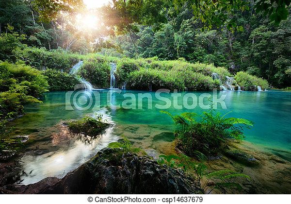 semuc, nationalpark, guatemala, sonnenuntergang, kaskaden, champey - csp14637679