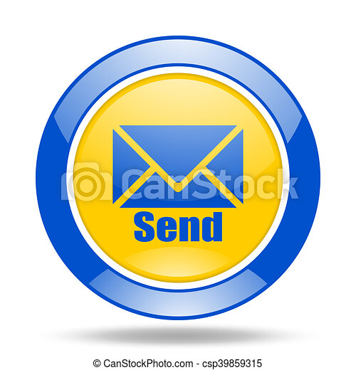 send blue and yellow web glossy round icon - csp39859315
