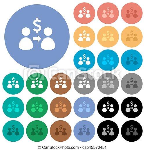 Send dollars round flat multi colored icons - csp45570451