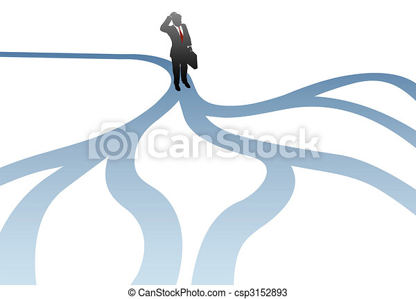 La decisión de los hombres de negocios escoge caminos de confusión - csp3152893