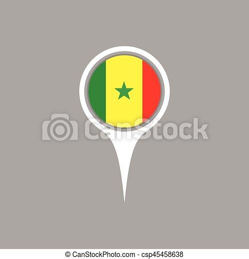Senegal flag location map icon vector illustration vectors