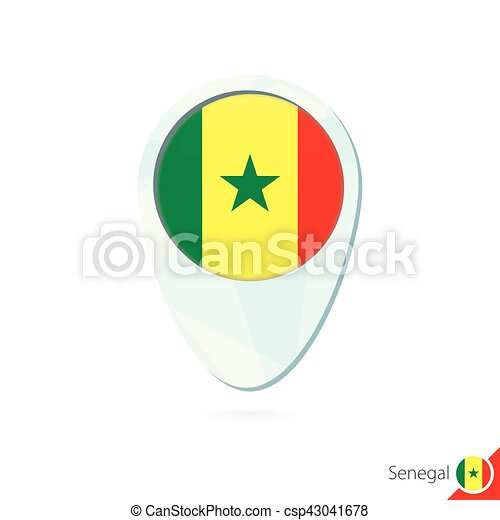 Senegal flag location map pin icon on white background vectors