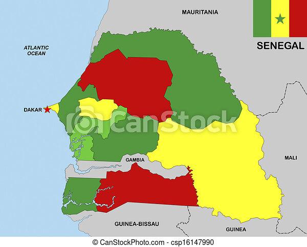 Senegal Map Big Size Political Map Of Senegal With Flag Stock - Senegal map