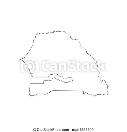 Senegal Map Outline Senegal Map On The White Background - Senegal map vector