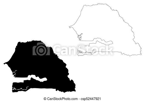 Senegal Map Vector Illustration Scribble Sketch Republic Of - Senegal map vector