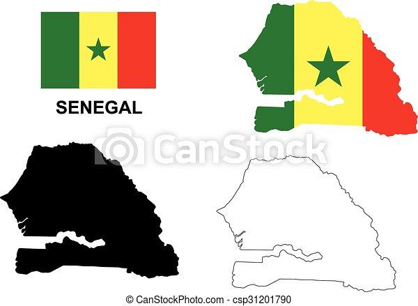 Senegal Map Vector Senegal Flag Vector Isolated Senegal Eps - Senegal map vector