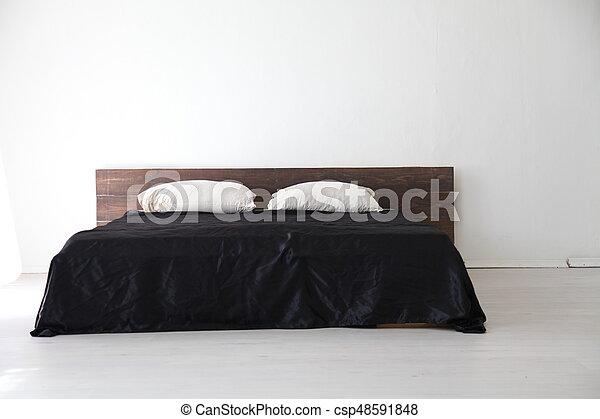 Seng, sort, lagener, soveværelse, interior, hvid. Seng... stock foto ...