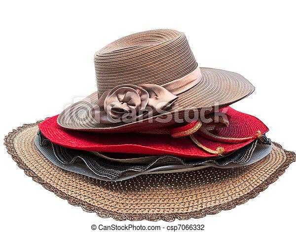 senhora, moda, chapéu - csp7066332