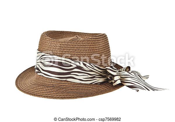 senhora, moda, chapéu - csp7569982