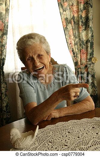senhora velha, rir - csp0779304