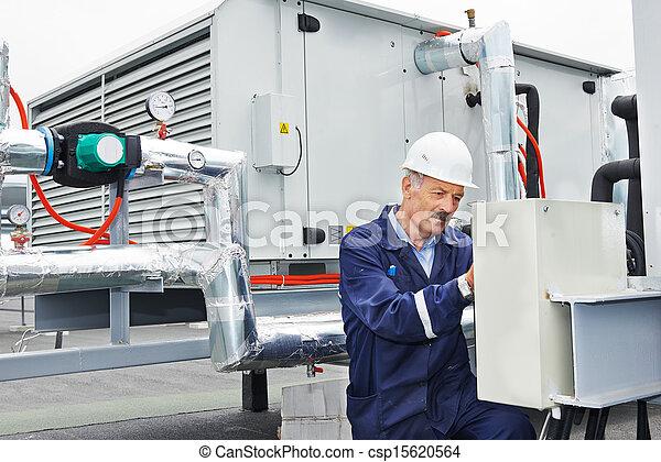 Senior adult electrician engineer worker - csp15620564
