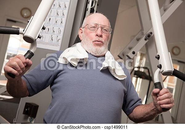 Senior Adult Man in the Gym - csp1499011