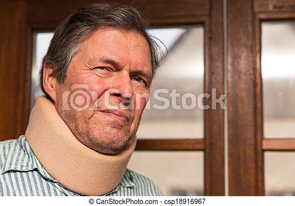 senior adult with neck pain - csp18916967