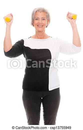Senior at workout - csp13755949