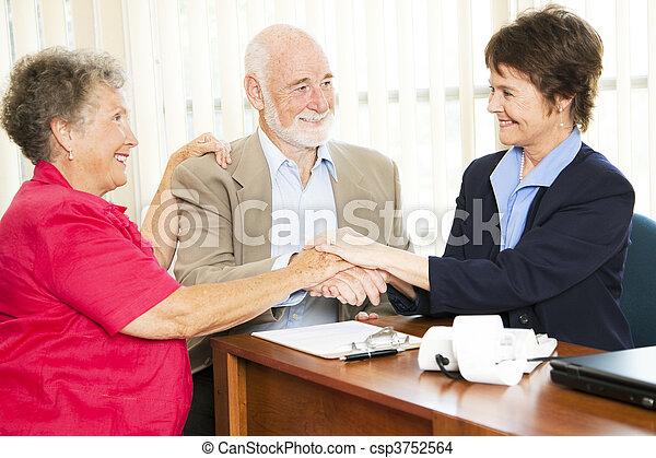 Senior Business Group Handshake - csp3752564