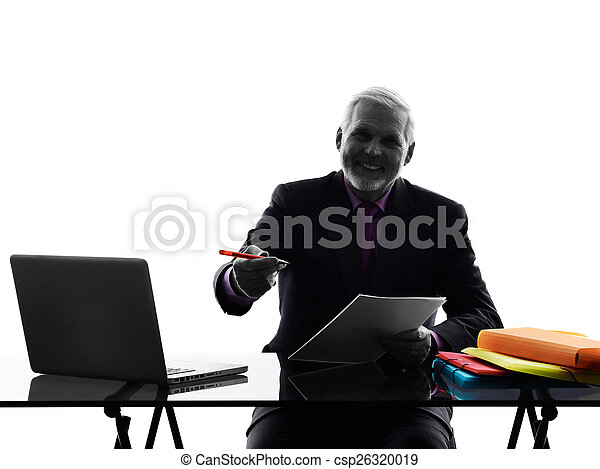 senior business man contract signing proposal silhouette - csp26320019