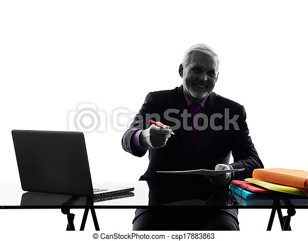 senior business man contract signing proposal silhouette - csp17883863
