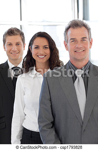 Senior business man leading a group - csp1793828