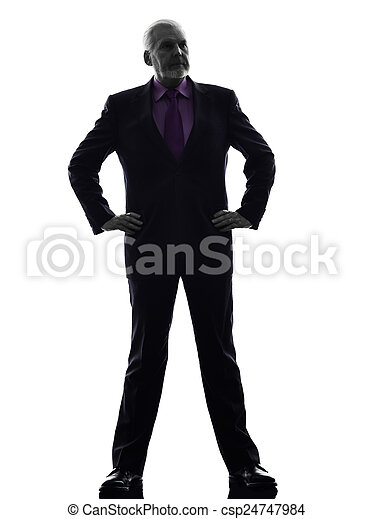 senior business man silhouette - csp24747984