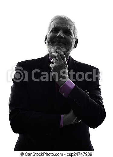 senior business man silhouette - csp24747989
