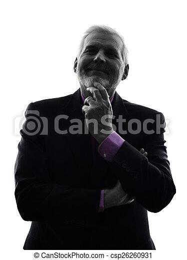 senior business man silhouette - csp26260931