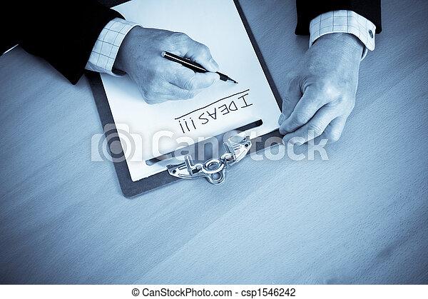 Senior businessman brainstorming - csp1546242