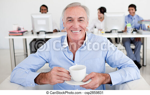 Senior businessman drinking a coffee  - csp2859831