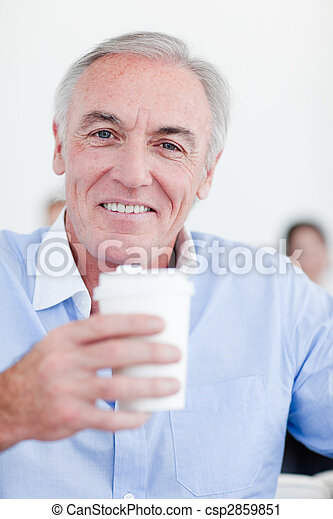 Senior businessman drinking a tea - csp2859851
