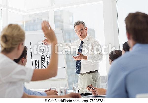 Senior businessman presenting bar c - csp17602573
