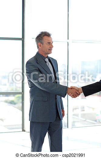 Senior businessman shaking hands - csp2021991