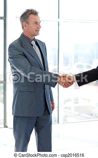 Senior businessman shaking hands - csp2016516