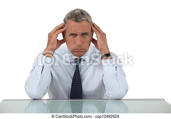Senior businessman with headache - csp10492424