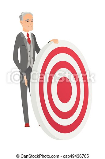 Senior caucasian businessman and dart board. - csp49436765