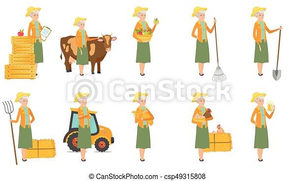 Senior caucasian farmer vector illustrations set. - csp49315808
