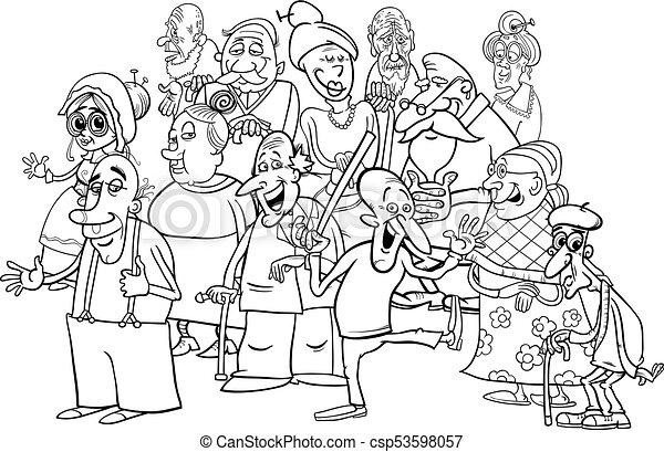 senior characters group cartoon coloring book - csp53598057