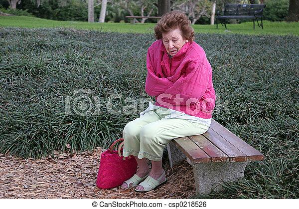 Senior Citizen Cold & Alone - csp0218526