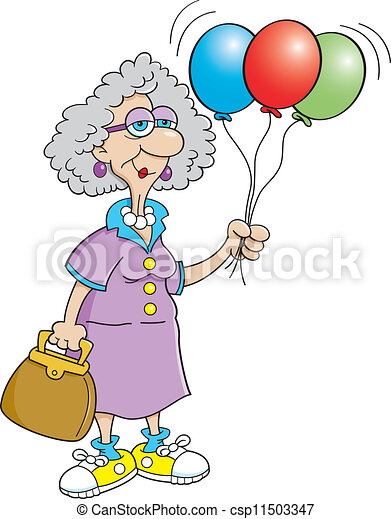 Senior Citizen Lady Holding Balloon Cartoon Illustration Of A