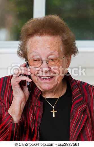 Senior citizen with a mobile phone call leads - csp3927561