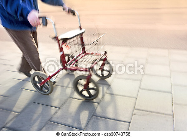 senior citizen with walking frame - csp30743758