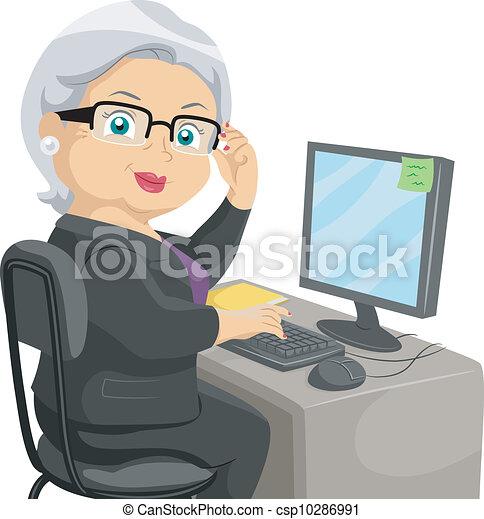 senior, computer - csp10286991